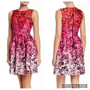 Vince Camuto Fit & Flare Release Pleat Dress Sz 12
